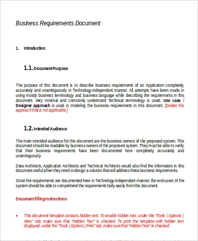 business requirement document template for web application