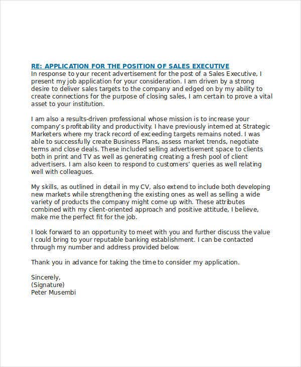 application letter for sales executive