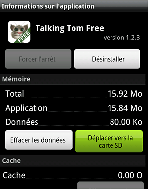 android deplacer application sur carte sd