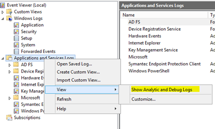 c# event log applications and services logs