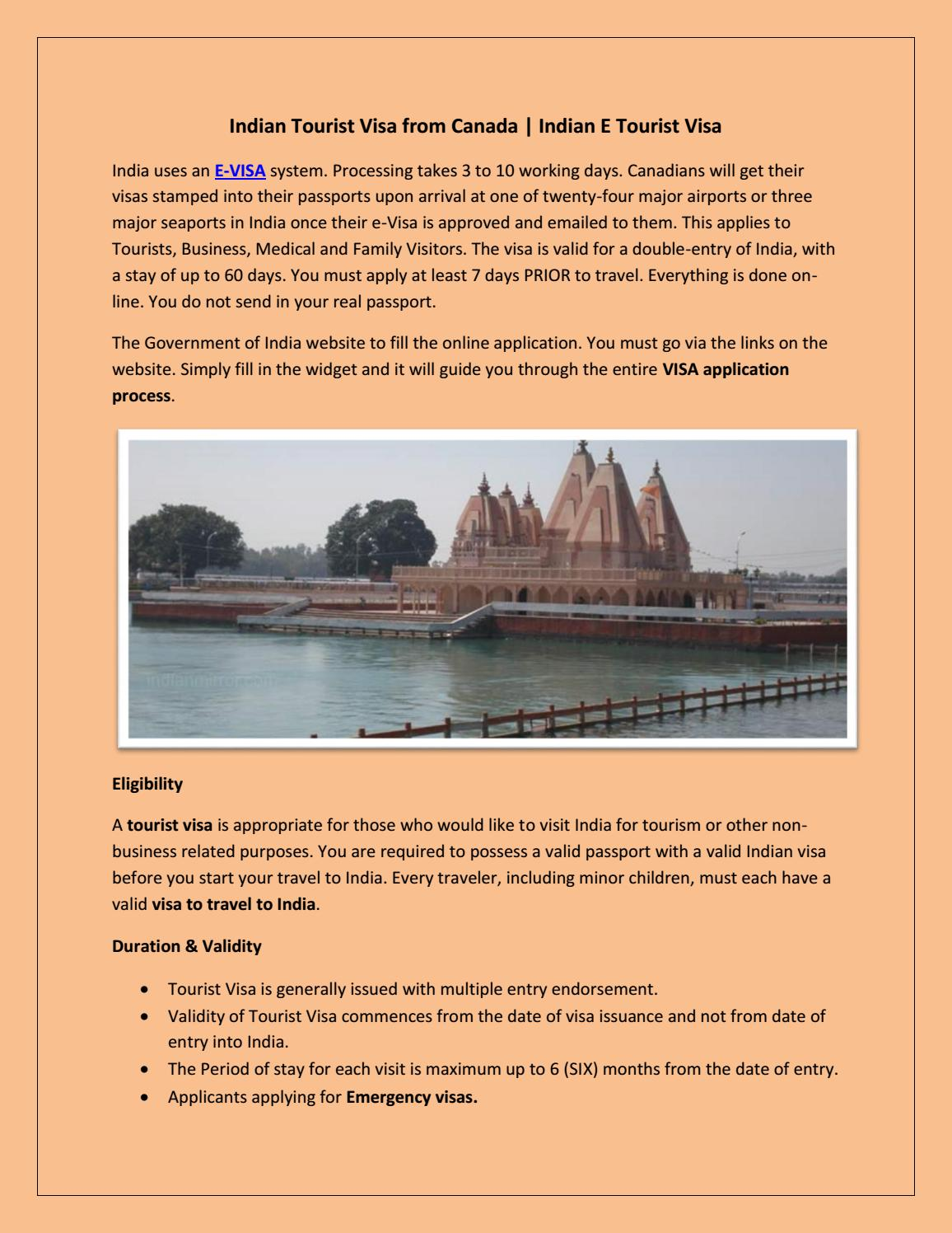 indian tourist visa application from canada