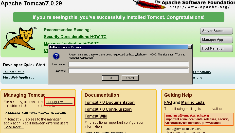 tomcat manager application username and password